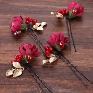 Red flowers, bride hairdressing dress accessories, bridal hand-made headwear hairpin on Sale
