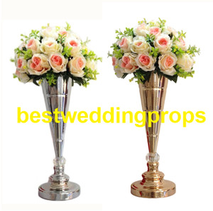 Wholesale flower arrangement centerpieces for weddings for sale - Group buy new item gold or sliver material decoration flower arrangement stands for wedding table centerpieces best0203