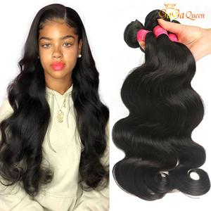 Gaga Queen Grade 8A Indian Body Wave Virgin Human Hair Extensions 3 Bundles Unprocessed Brazilian Peruvian Indian Virgin Remy Hair Deals