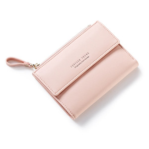 Wholesale Short Wallet Female Korean Version of the New Fashion Buckle Student Cute Coin Pocket Simple Two Fold Folding Wallet Tide
