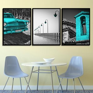 3 Piece Abstract Bell Tower Painting Nordic Canvas Art Print Bridge Lamp Pictures Wall Blue Car And Building Poster Bedroom Home Decor