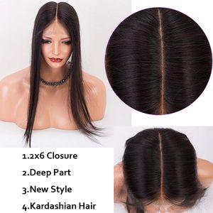 2x6 Lace Closure Straight Body Wave Long Middle Part Way Brazilian Pervian Maylasiian Virgin Human Hair Raw Virgin Indian Straight Top