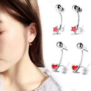 Wholesale Mini Simple Epoxy Temperament Processed Customized Red Love Stars Ear Hooks Hanging Heart Shaped Ladies Earrings