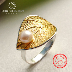 Wholesale Lotus Fun Moment Real Sterling Silver Vintage Natural Pearl Fashion Jewelry Adjustable Ring Gold Leaf Rings for Women Bijoux