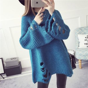 Wholesale Pluz Size Sweaters Lady Sweater Woman Knit Pullover Autumn Winter Bat wing Sleeve Hole Boyfriend Style Crop Tops Jumper