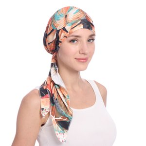 Wholesale Muslim Women Cotton Soft Print Turban Hat Cancer Chemo Beanies Bonnet Caps Pre Tied Scarf Headwear Headwrap Hair Accessories