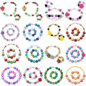 Wholesale Baby Girl Pendant Bead Necklace Bracelet set Christmas Diamond Rose kids Toddler Xmas Party Jewelry C5354