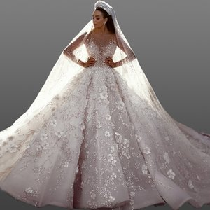 1c2eb793a5ff Luxury Beading Flowers Tulle Wedding Dresses Sheer Neck Long Sleeves  Illusion Bodice Ball Gown Bridal Dresses