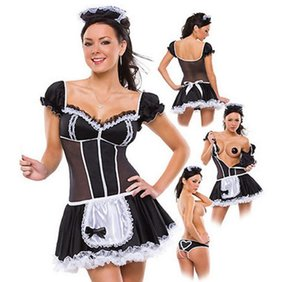 Wholesale plus size XL Servant Women Cosplay Black And White Party Halloween Short Sleeve Sexy dress French Maid Costumes Drop shipping C18111601