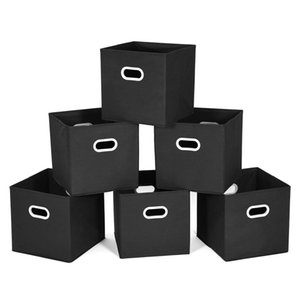 Cloth Storage Bins Cubes Baskets Containers with Dual Plastic Handles for Home Closet Bedroom Drawers Organizers, Foldable, Black, 11.25 on Sale