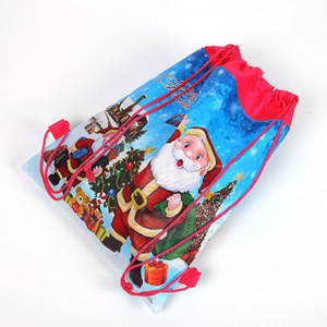 Wholesale Merry Christmas Santa Claus Theme Drawstring Gifts Bags Cinch Sack Kids Favors Baby Backpack Happy Birthday Party