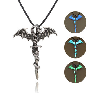 Wholesale Luminous Necklace Sword Wing Dragon Pendant Chain Necklaces Glow in the Dark Punk Vintage Alloy Jewelry Charm Sweater Chain for Women Men