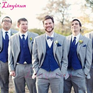 серый смокинг королевский синий жилет оптовых-Linyixun Gray Wedding Groomsmen Tuxedos Classic Style Three Piece Royal Blue Vest Grey Custom Made Men Suits