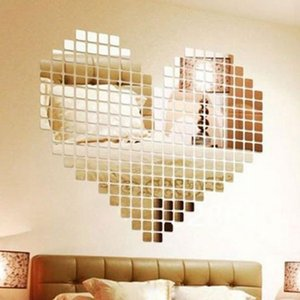 Wholesale 100 Pieces Mirror Tile Popular DIY Wall Sticker D Decal Mosaic House Home Room Decoration Stick For Modern Rooms Drop Shipping
