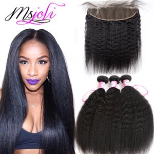 Wholesale Human Hair Wefts with Closure x4 Frontal Ear To Ear Indian Natural Unprocessed Hair Kinky Straight Yaki Hair Weave Bundles Frontal