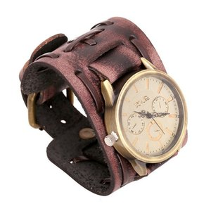 Wholesale Retro Mens Woven Wide Strap Leather Cuff Bracelet Watch Punk Brown Black Copper Locking Bangle Wristband Adjustable Jewelry Gifts for men