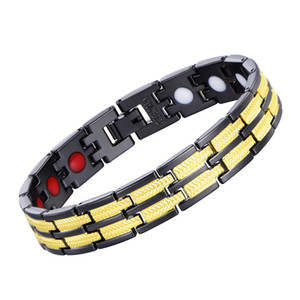 Punk Cool Fashion Black Gold Color Link Chain Copper Bracelet Far Infrared Negative Ion Bio Health Energy Balance Power Bracelet Men Jewelry