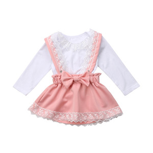 Newborn Toddler Baby Girl Clothes Set Autumn Long Sleeve Lace White Lace Top Bodysuit Pink Skirt Girls Clothing Outfits 2PCs