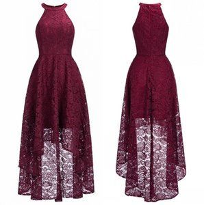2019 Cheap Burgundy Halter Lace A Line Evening Dresses High Low Formal Party Prom Dresses Real Image CPS1151 on Sale