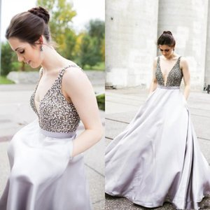 Wholesale Elegant Silver Crystal Puffy Evening Formal Dresses With Pocket Plugging Prom Dresses Top Beaded Plus Size Red Carpet Celebrity Dresses
