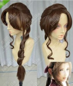 Wholesale Final Fantasy Alice Dark brown thick Slightly curled ponytail cosplay wig