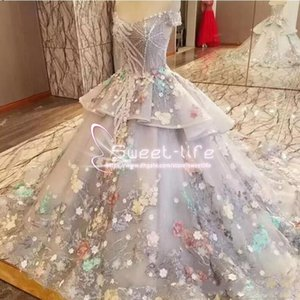 Wholesale 2018 Fairy Colorful Off The Shoulder Wedding Dresses Spring Summer Organza Tiered Bridal Gowns Lace Appliques Dubai Wedding Vestidos