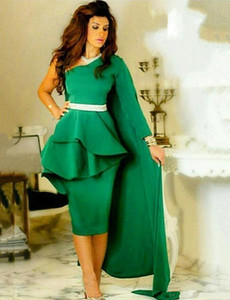 Knee Length Short Prom Dresses with Peplum One Long Sleeves Cocktail Evening Party Gowns with Cloak on Sale