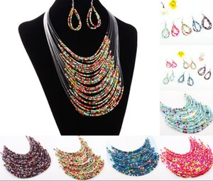Wholesale 2018 New Fashion Multicolor Multi layer Resin Beads Necklaces and Earrings Set Mother s Day Pendant Necklace Gifts Jewelry Colors H139R