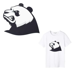 Wholesale 1 Angry Panda Iron on Transfers Patches for Boy Girls Clothing Accessory Punk Patch Thermal Heat Transfer Sticker Print on T shirt