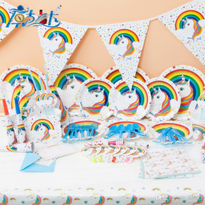 Wholesale wedding themes for sale - Group buy Creative Unicorn Theme Tableware Children Birthday Party Wedding Supplies Decorations Set Supplies Unicornio Props Good Quality kk dd