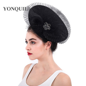 Wholesale Women imitation Sinamay Fascinator Hats Black Kentucky Derby Wedding Cocktail Church Sinamay clips gril birdcage veils Headwear SYF291