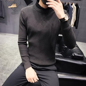 Wholesale Men's clothing 2018 winter new slim solid color sweater private custom black shirt collar fake two sweater bottoming shirt
