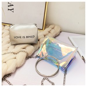 Wholesale 2018 Summer Transparent Crystal Shoulder Jelly Bag Colorful Laser Cat Ear Portable Small package Chain Messenger Bag
