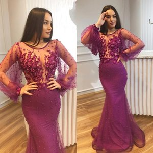 2019 Mermaid Evening Dresses Party Wear Pearls Beaded Jewel Neck Long Sleeves Prom Gowns Floor Length Flowers Plus Size Formal Dress on Sale