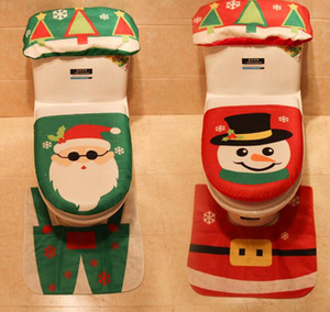 Wholesale Christmas Toilet Seat Cover Set Toilet Foot Pad Seat Cover Cap Happy Santa Toilet Seat Cover and Rug Bathroom Accessory