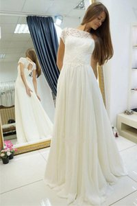 Princess New Bateau Beach A Line Chiffon Wedding Dresses Short Sleeve Lace Draped Appliques Bridal Gowns Custom Made Transparent Romantic on Sale