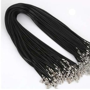 Wholesale 1 mm mm black leather cord wax rope chain necklace cm lobster clasp DIY jewelry accessories strand number