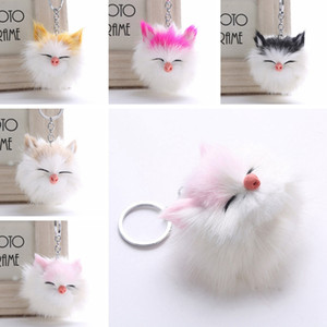 Wholesale Kawaii Kitten Cat Fur PomPom KeyChain Fake Rabbit Hair Bulb Bag Ball Key Chain Pendant Porte Clef for Women