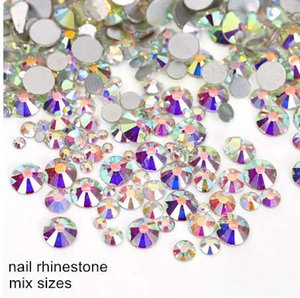 Wholesale 1000pc Non Hot Fix Rhinestone Mix Size (ss3-ss12) Crystal Clear Glass Flatback Crystal Strass for Nail Decoration Y2891