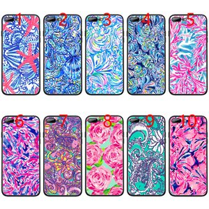Lilly Pulitzer Summer flower Pink Soft Black TPU Phone Case for iPhone XS Max XR 6 6s 7 8 Plus 5 5s SE Cover
