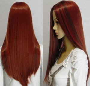 Wholesale Fashion Womens Dark Red Long Curly Anime Cosplay Party Wig quot cm