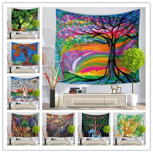 Wholesale 13 Style colorful tree tapestry wall hanging home decoration printing beach towel tablecloth bed shee yoga mat nice party decor free ship