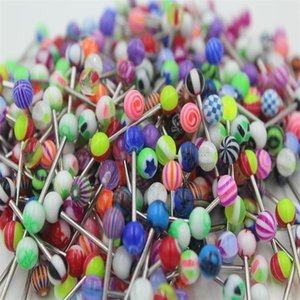 100pcs lot Tongue Ring bar mix color uv acrylic body piercing jewelry tongue barbell ring