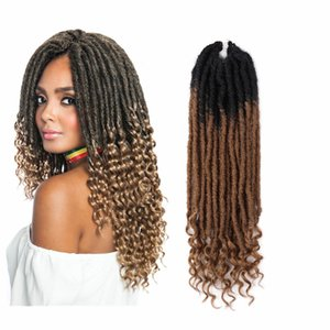 Wholesale Nu Locs in Crochet Hair Extension inch Ombre Two Tone T27 BUG Synthetic Faux Locs Curly Crochet Braids Soul Goddess