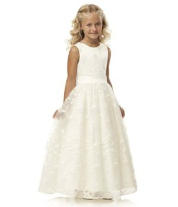 Wholesale 2018 Flower Girl Dresses For Weddings Ball Gown Cap Sleeves Tulle Lace Crystals Long First Communion Dresses Little Girl