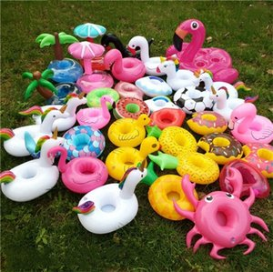 Wholesale Animals Inflatable Cup Holder Drink Floating Party Beverage Boats Pool Beach Stand Inflatable Drink Holder Unicorn Flamingo I208