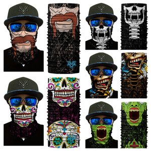 Wholesale 12 Styels D Clown Flame Skull Zombie Bearded Printing Seamless Headscarf Cycling Fishing Yard Working And Sun UV Protection Free DHL G711F