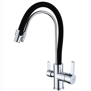 Wholesale rotating single kitchen faucet resale online - Kitchen Sink Faucet Rotate with Ceramic Valve Single Handle One Hole Chrome Black Painting Finish