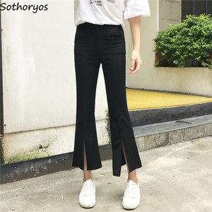 Wholesale Pants Women Solid Simple All match Slim High Waist Pockets Trousers Womens Elastic Leisure Korean Style High Quality Trendy Chic