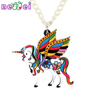 Wholesale NEWEI Acrylic Holy Fairy Unicorn Flying Horse Necklace Pendant Chain Collar Fashion Anime Jewelry For Women Girls Teens Gifts